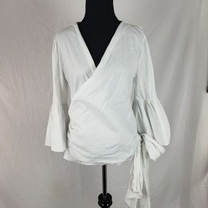 Nasty Gal Wrap Bell Sleeve White Tie Top Size 10